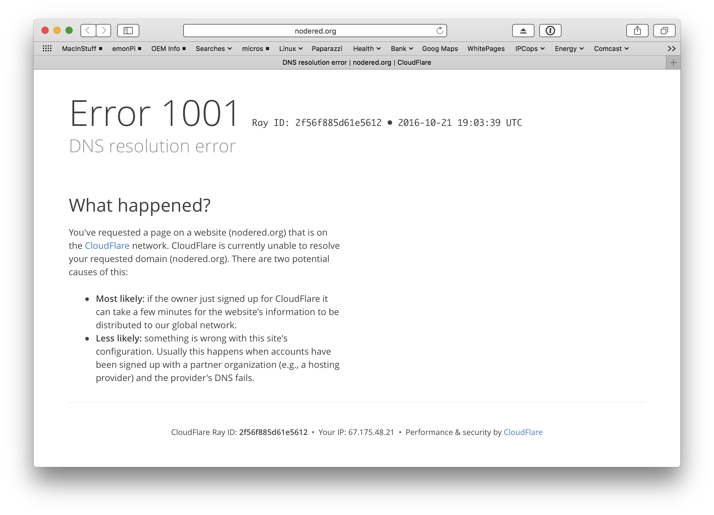 21 Oct 2016 - Cannot access node-red or github websites